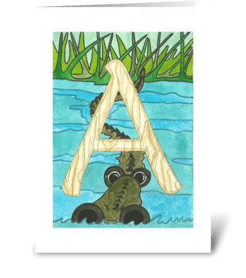 A is for Alligator greeting card