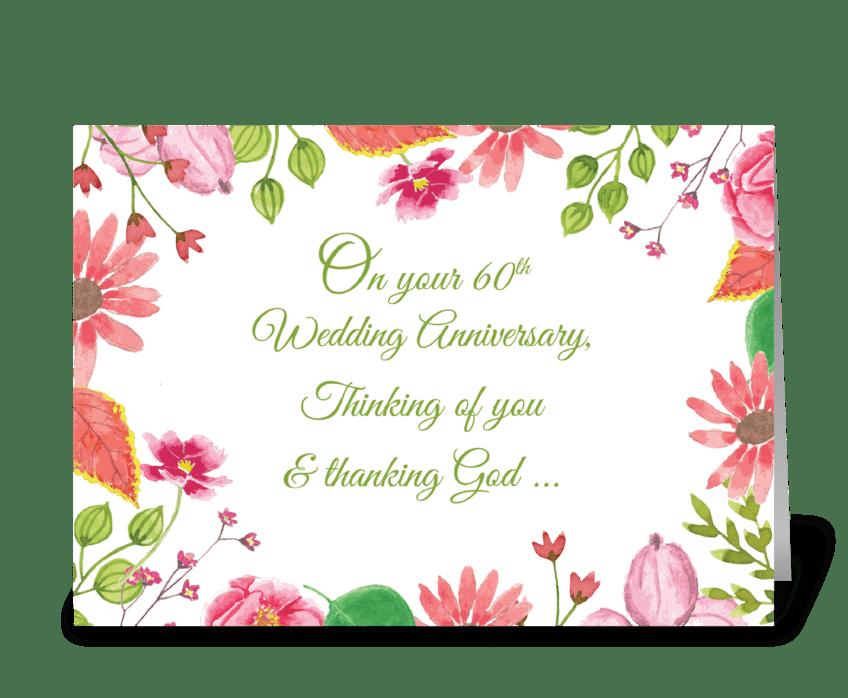 Religious 60th Wedding Anniversary greeting card