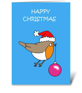 Happy Christmas Cartoon Robin Santa Hat greeting card