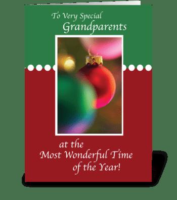 Grandparents, Christmas Ornaments greeting card