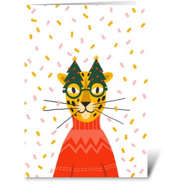 Cheerful, cute leopard. Christmas party. greeting card