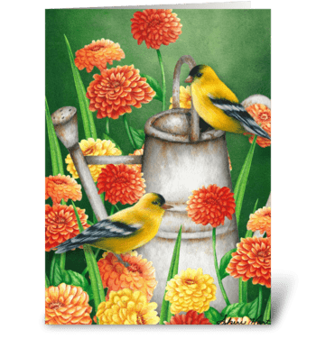 Summer Goldfinches greeting card