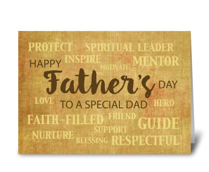 Dad Religious Father's Day Qualities greeting card