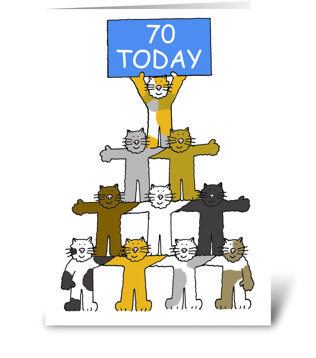 Happy 70th Birthday Fun Cats