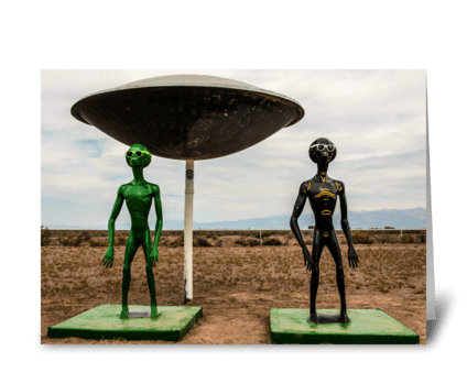 Aliens at UFO Watchtower greeting card