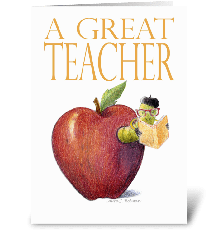 Teacher Thank You Worm in Apple greeting card
