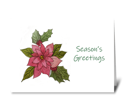 Poinsettia Watercolor and Ink Card greeting card