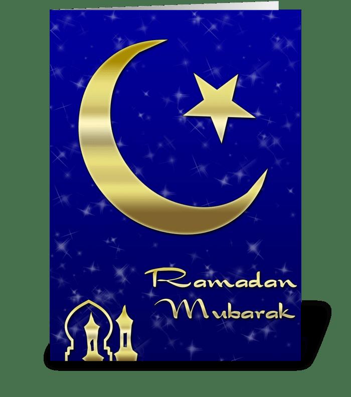 Gold Moon, Star, Ramadan greeting card