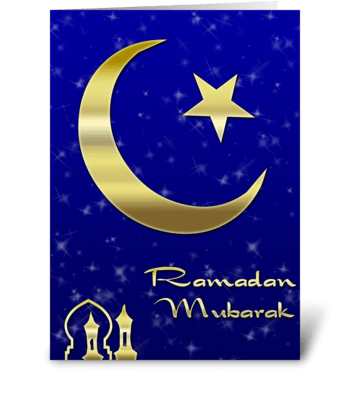 Gold Moon, Star, Ramadan greeting card