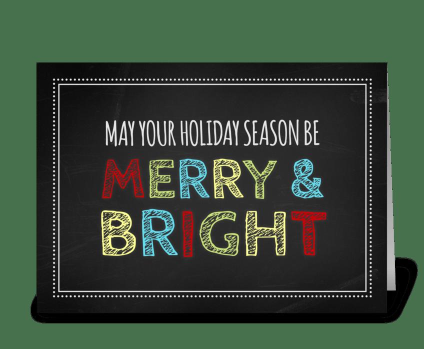 Chalkboard Merry & Bright Christmas Card greeting card