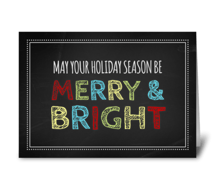 Chalkboard Merry & Bright Christmas Card greeting card