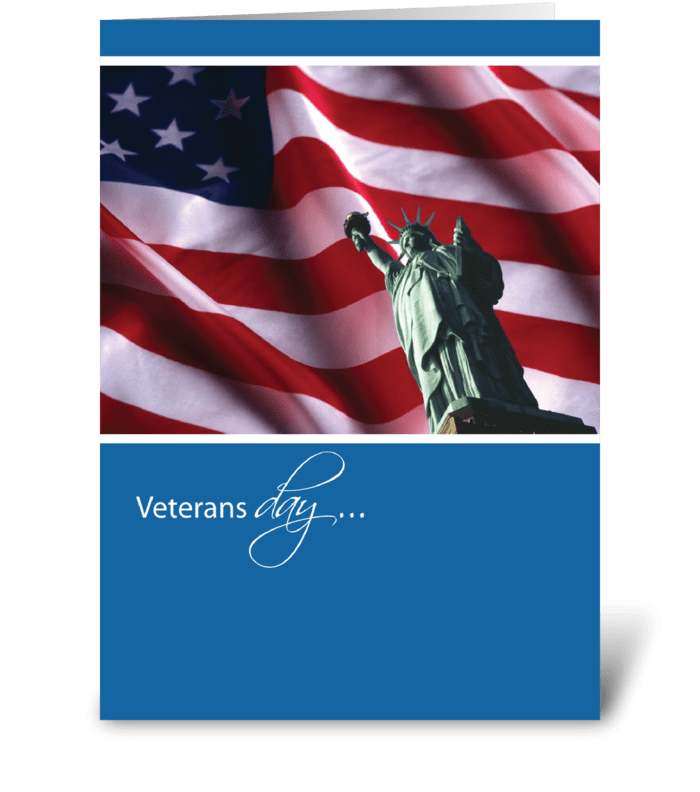 Veterans Day Liberty Flag Thank You greeting card