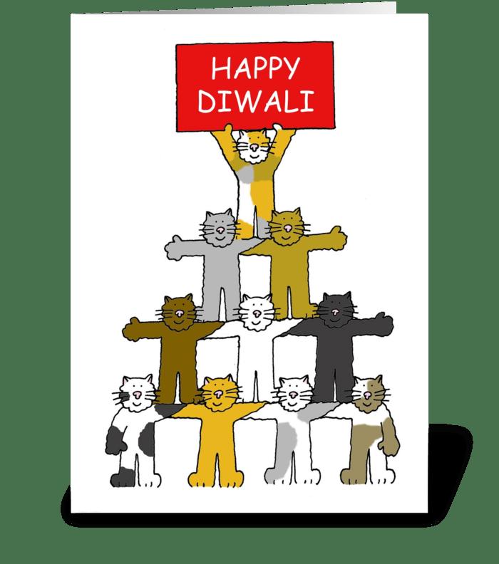 Happy Diwali, Cartoon Kittens. greeting card