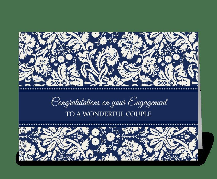 Engagement Congratulations Blue Damask greeting card