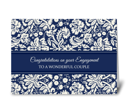Engagement Congratulations Blue Damask greeting card