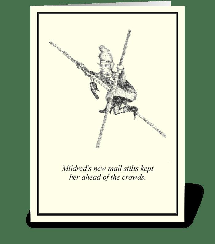 Mall Stilts greeting card
