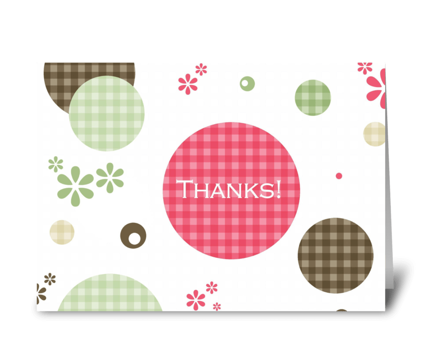 Thank You Gingham Retro Polka Dots  greeting card