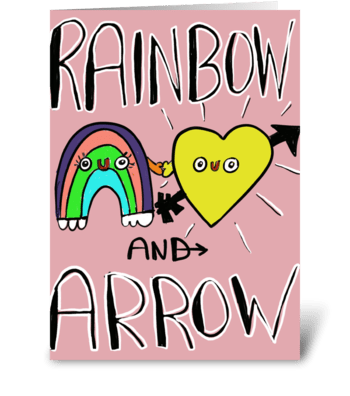 Rain Bow And Arrow greeting card
