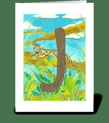 J for Jaguar greeting card