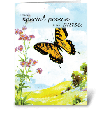 Nurses Day Butterfly, Flowers  greeting card