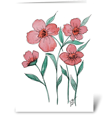 Dark Coral Flower Watercolor Ink Design greeting card