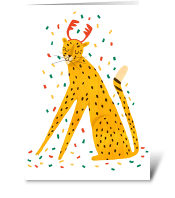 Cute leopard. Merry Christmas. greeting card