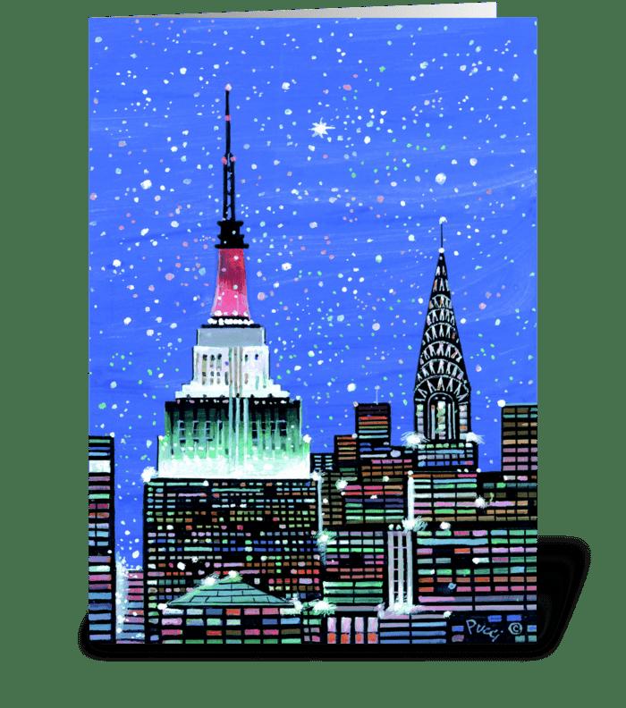 Gotham Spires by Albert J. Pucci greeting card