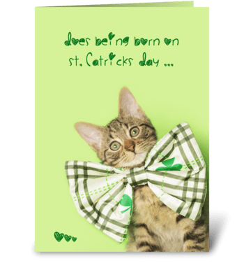 St. Patrick's Day Birthday Kitten greeting card