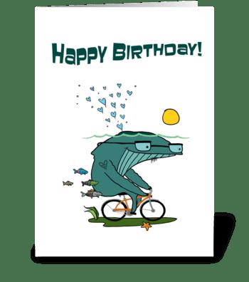 Whale + Bike greeting card