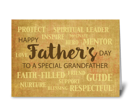 Grandpa Religious Father's Day Qualities greeting card