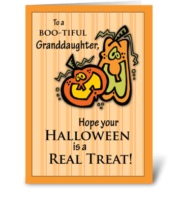 Granddaughter Pumpkins Halloween greeting card