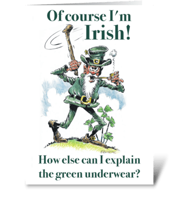 Green underwear. greeting card