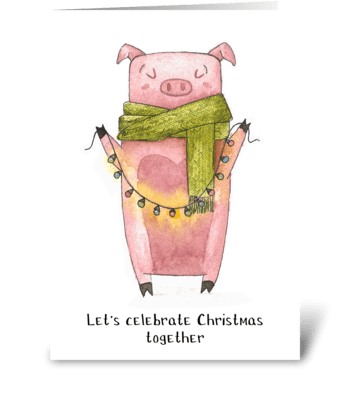 Holiday Piggy Fun greeting card