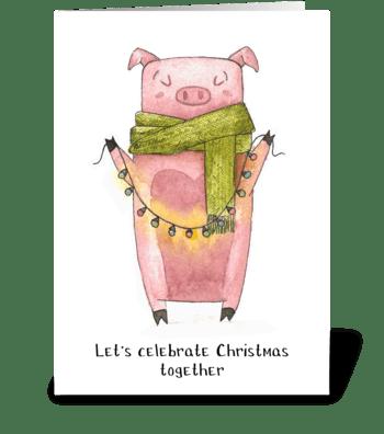 Holiday Piggy Fun greeting card