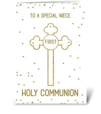 Niece First Holy Communion Gold Look greeting card