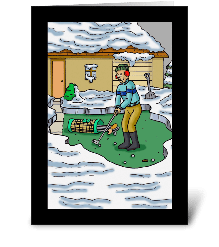 Golfer Clears Away The Snow To Putt greeting card