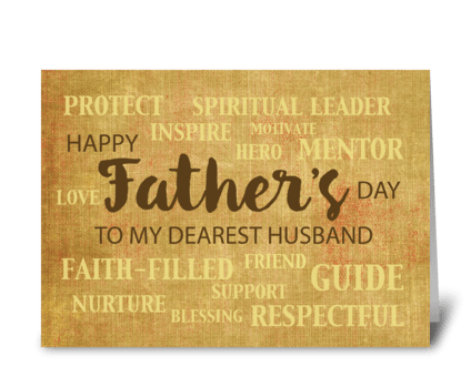 Husband Religious Father's Day Qualities greeting card