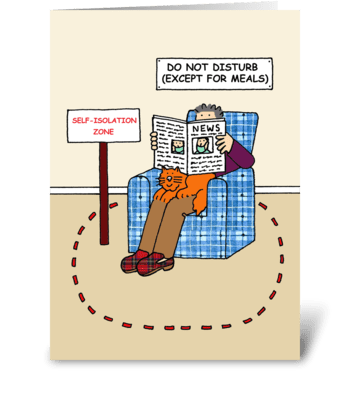 Coronavirus Self-isolation Cartoon. greeting card