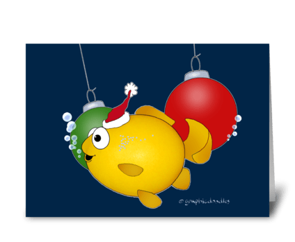 Merry Christmas Cartoon Fish greeting card