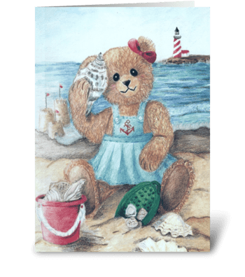 """Summer Teddy"" greeting card"