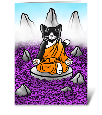 Buddhist Tuxedo Meditation Cat greeting card