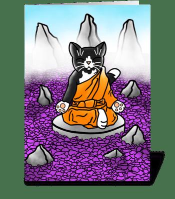Buddhist Tuxedo Meditation Cat greeting card