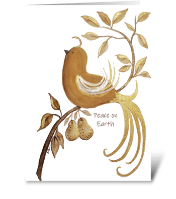 Peace On Earth Partridge Pear Tree greeting card