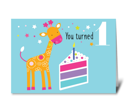 First Birthday Blue greeting card