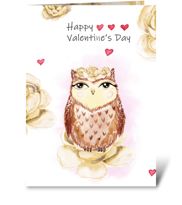Watercolor Valentine's owl and peonies greeting card