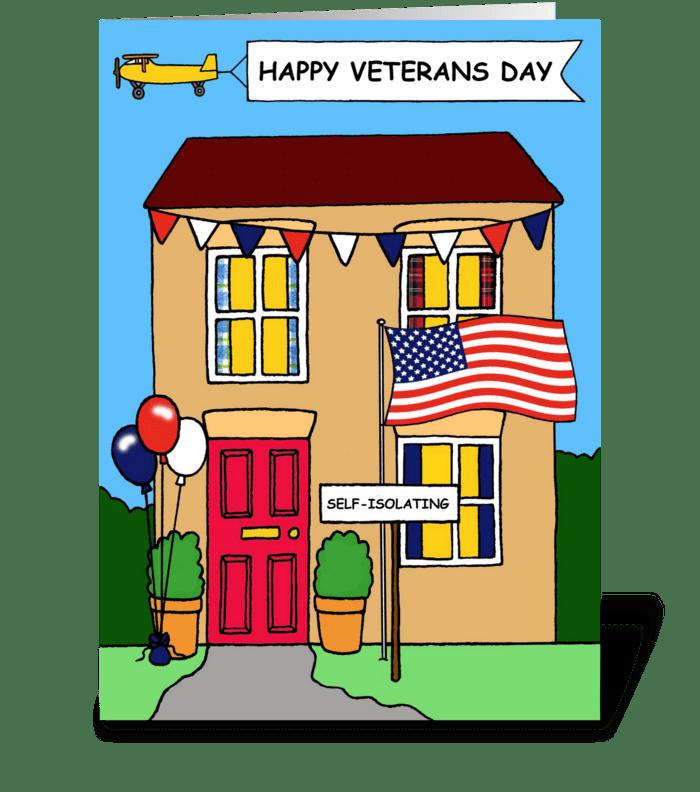 Covid 19 Veterans Day Cartoon greeting card