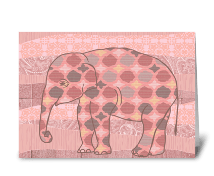 Pink Bohemian Elephant greeting card