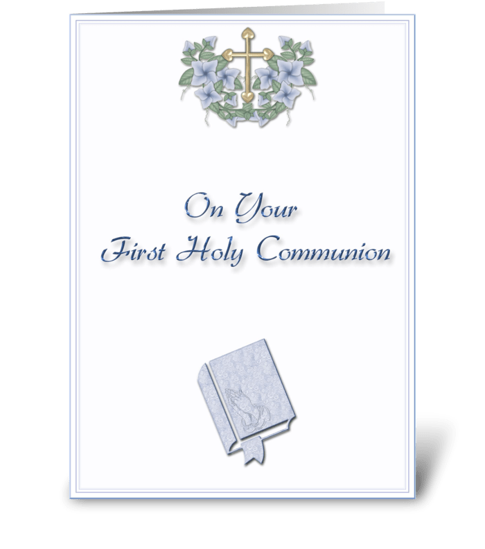 Communion Blessing Blue greeting card