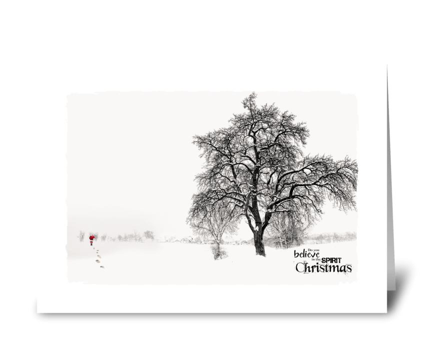 santa in the snow greeting card