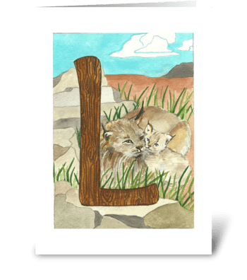 L for Lynx greeting card